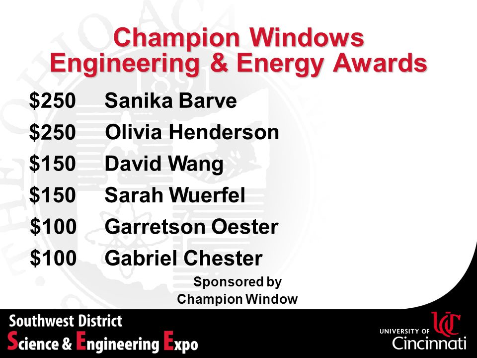 Champion Windows Engineering & Energy Awards