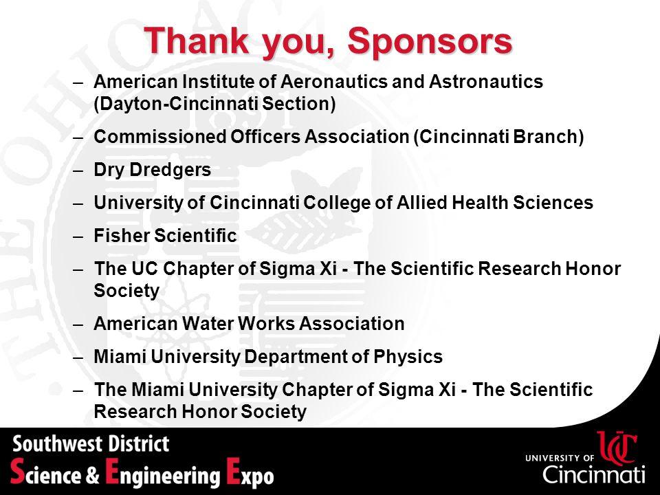 Thank you, Sponsors American Institute of Aeronautics and Astronautics (Dayton-Cincinnati Section)