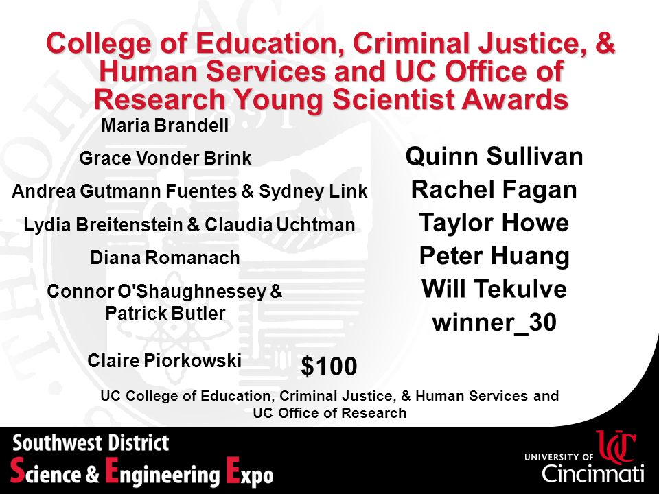 College of Education, Criminal Justice, & Human Services and UC Office of Research Young Scientist Awards