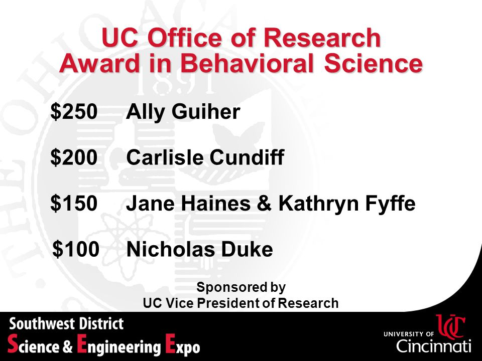 UC Office of Research Award in Behavioral Science