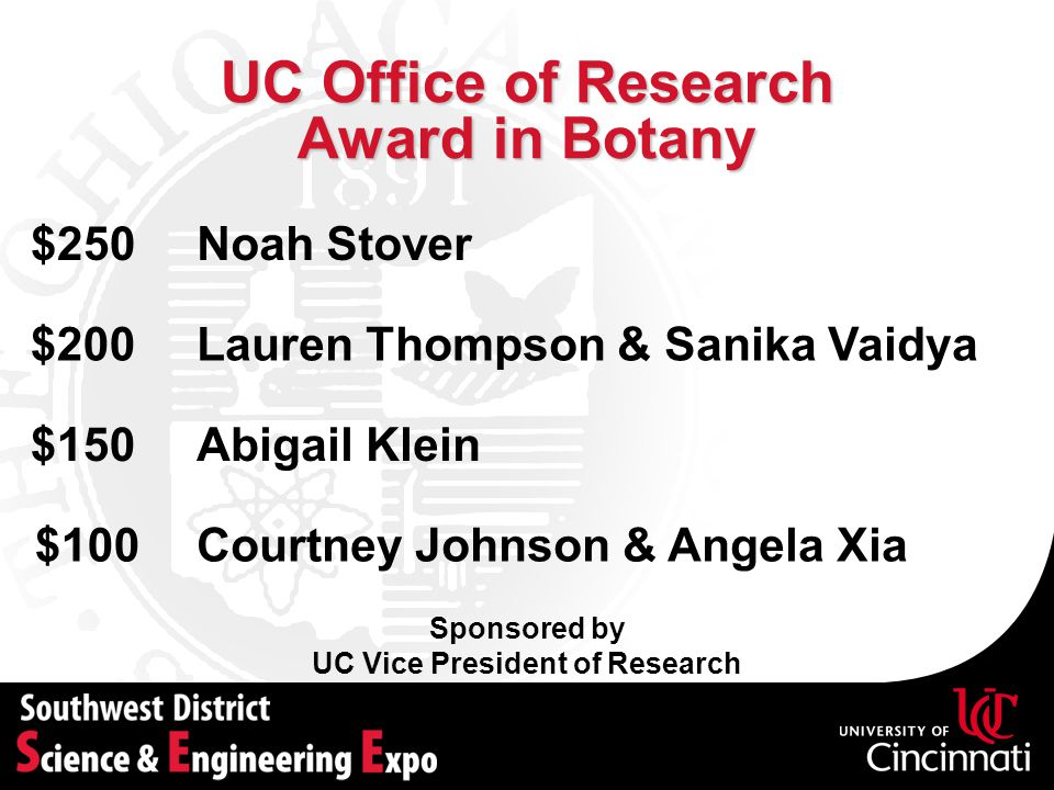 UC Office of Research Award in Botany