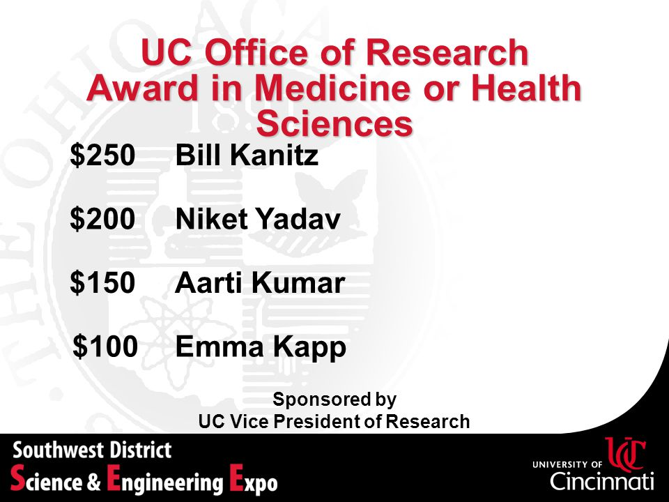 UC Office of Research Award in Medicine or Health Sciences