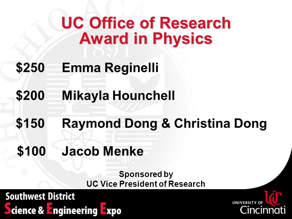 UC Office of Research Award in Physics