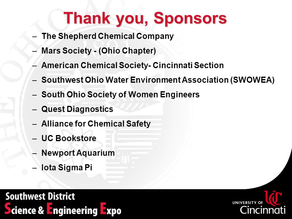 Thank you, Sponsors The Shepherd Chemical Company