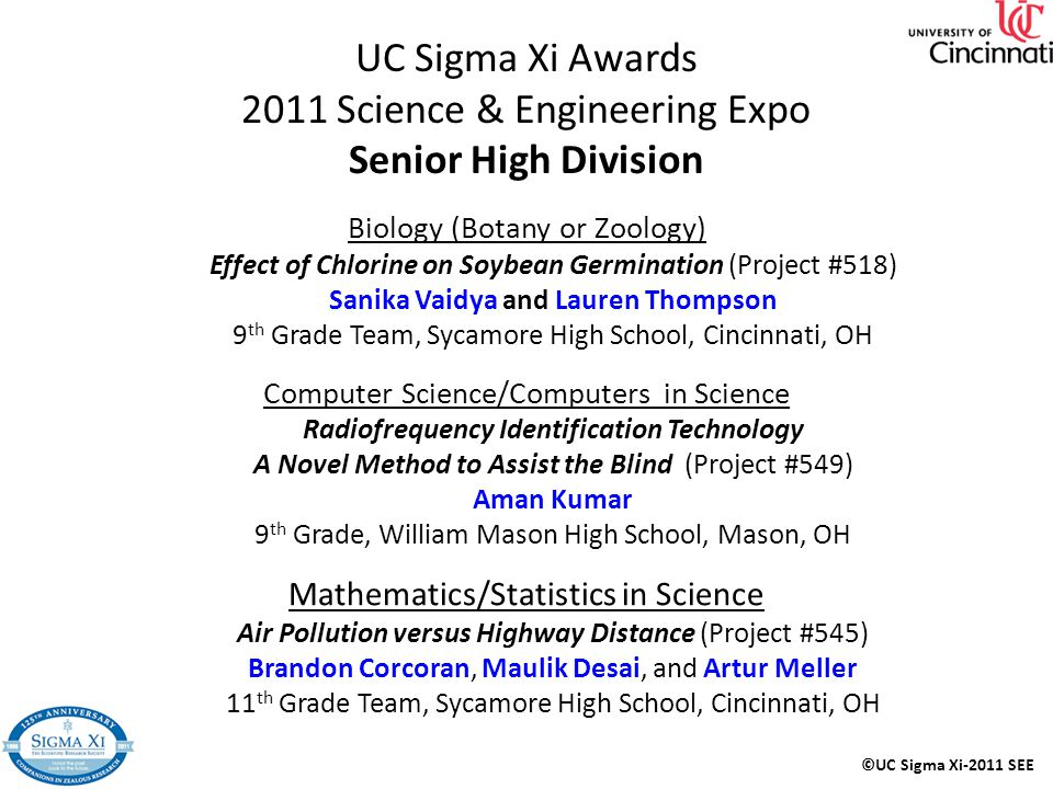 UC Sigma Xi Awards 2011 Science & Engineering Expo Senior High Division