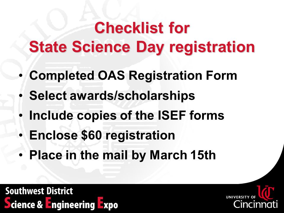 State Science Day registration
