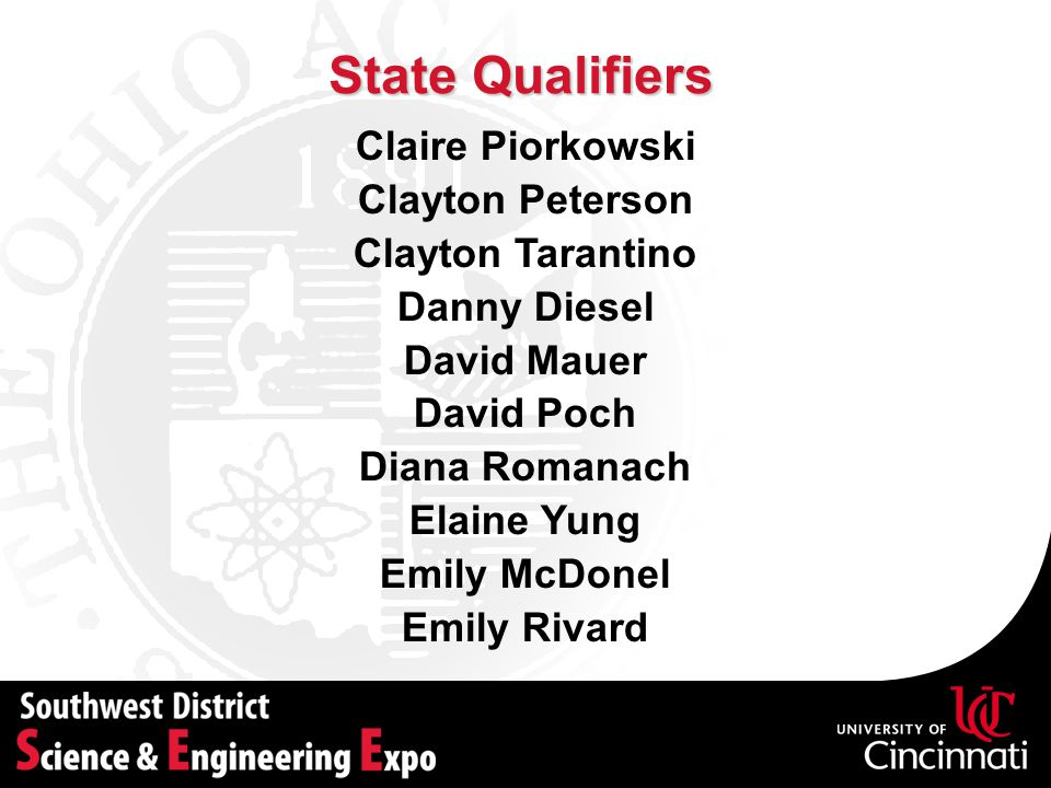 State Qualifiers Claire Piorkowski Clayton Peterson Clayton Tarantino