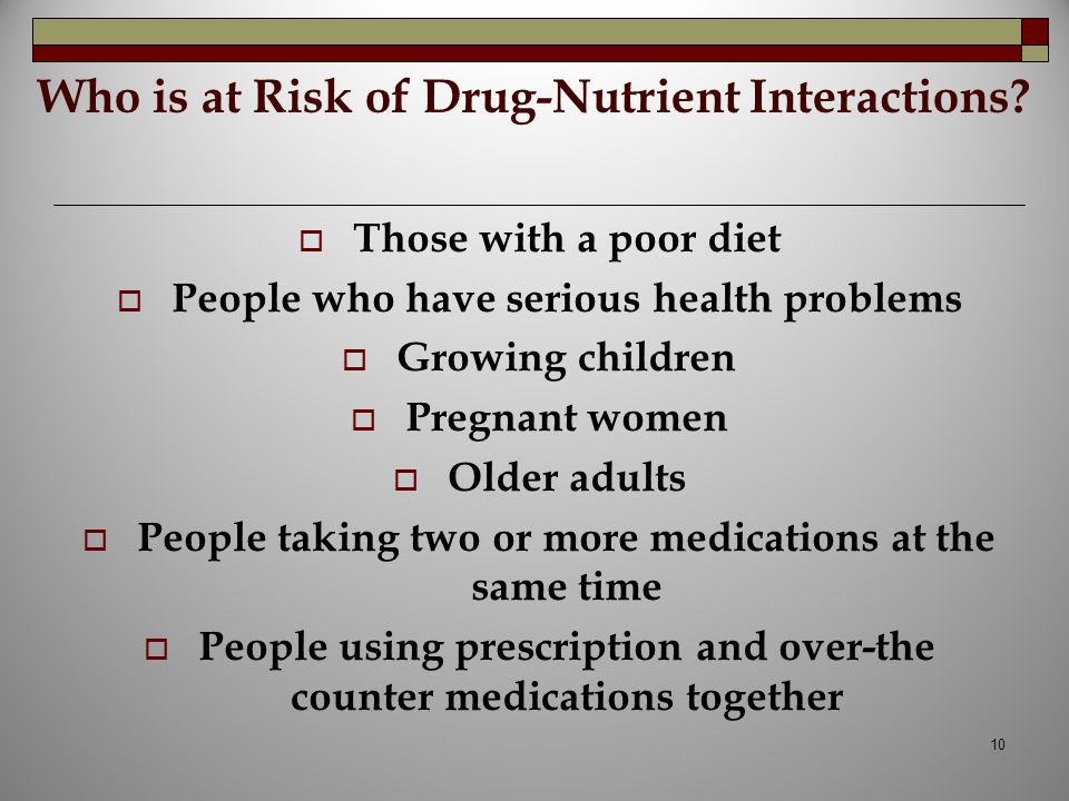 Who is at Risk of Drug-Nutrient Interactions