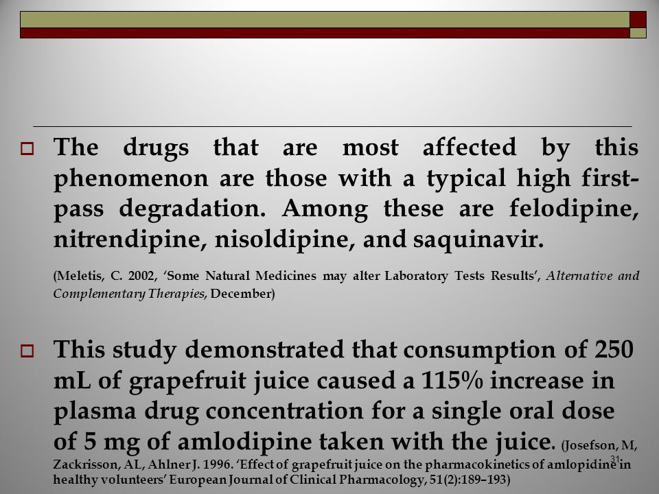 The drugs that are most affected by this phenomenon are those with a typical high first-pass degradation. Among these are felodipine, nitrendipine, nisoldipine, and saquinavir.