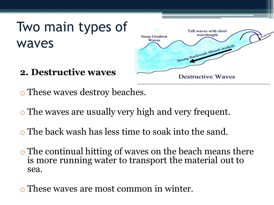 Two main types of waves 2. Destructive waves
