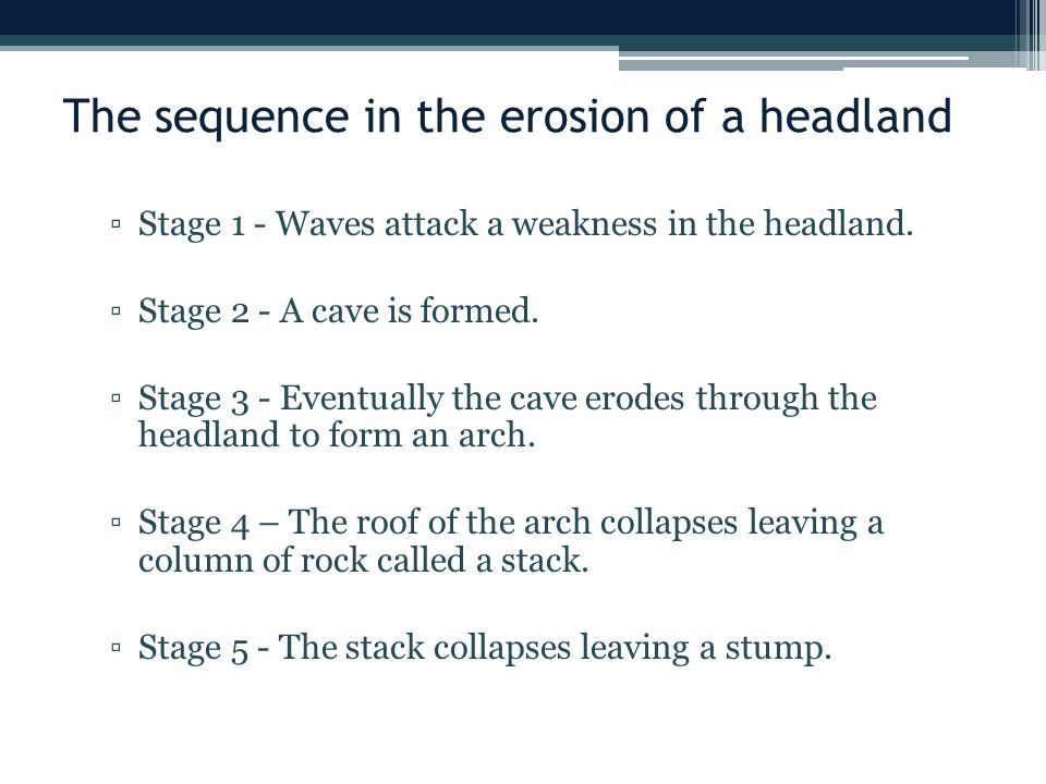 The sequence in the erosion of a headland