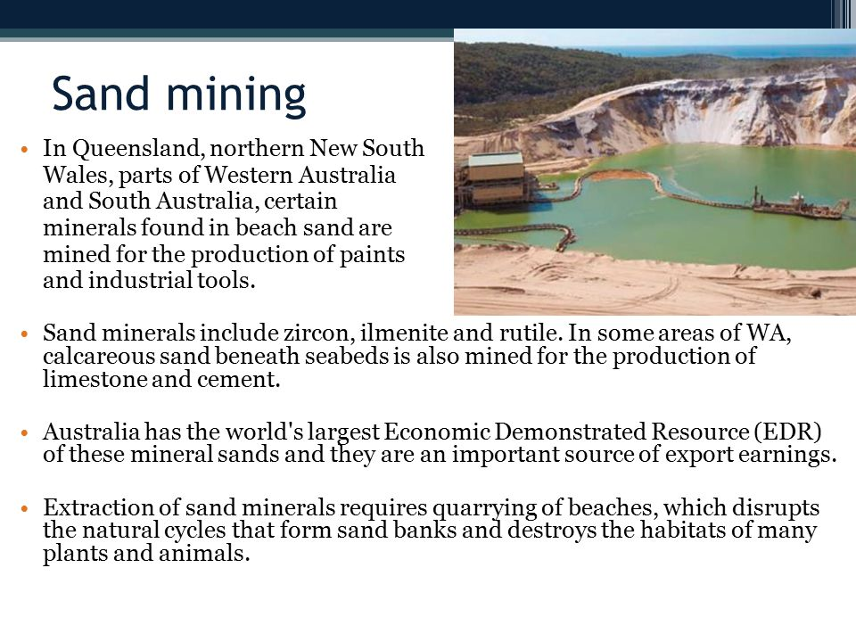 Sand mining In Queensland, northern New South
