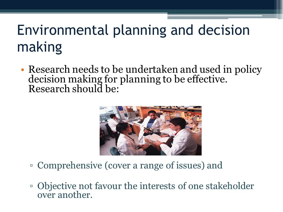 Environmental planning and decision making