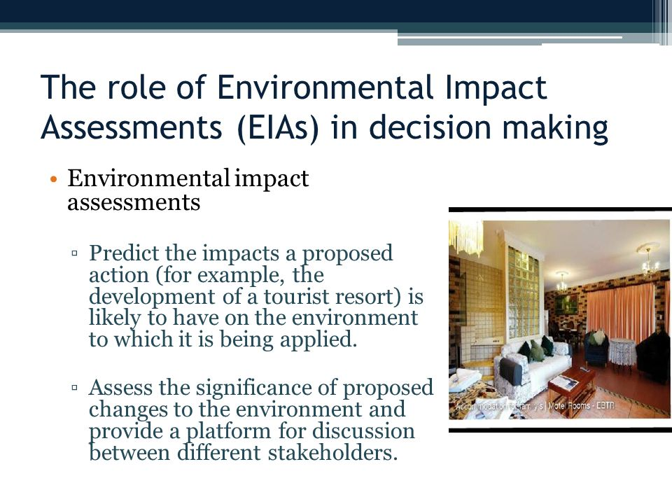 The role of Environmental Impact Assessments (EIAs) in decision making
