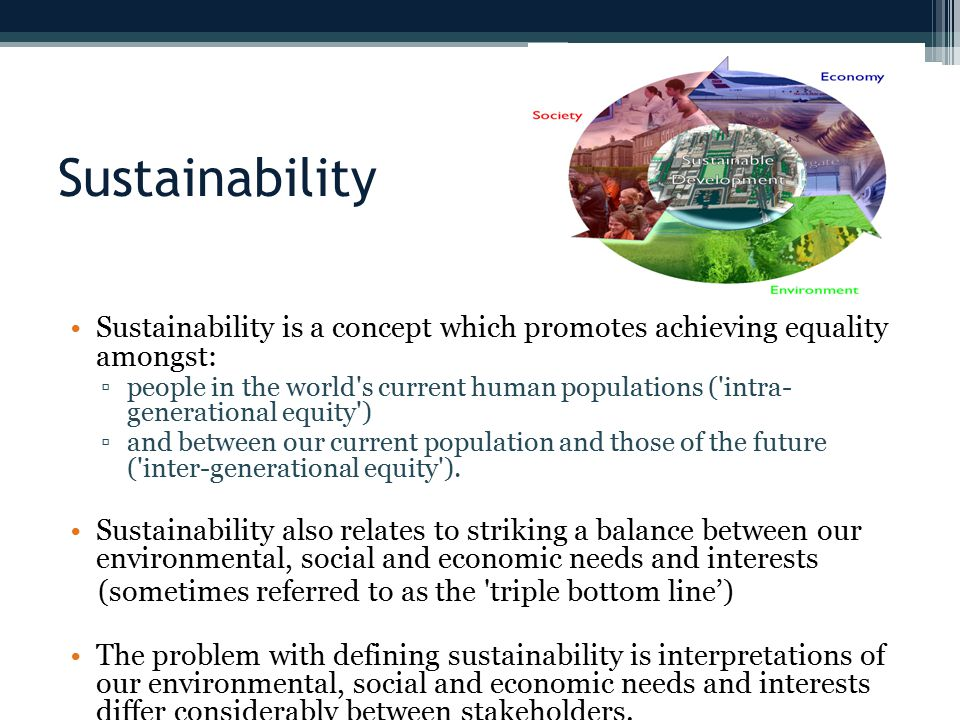 Sustainability Sustainability is a concept which promotes achieving equality amongst: