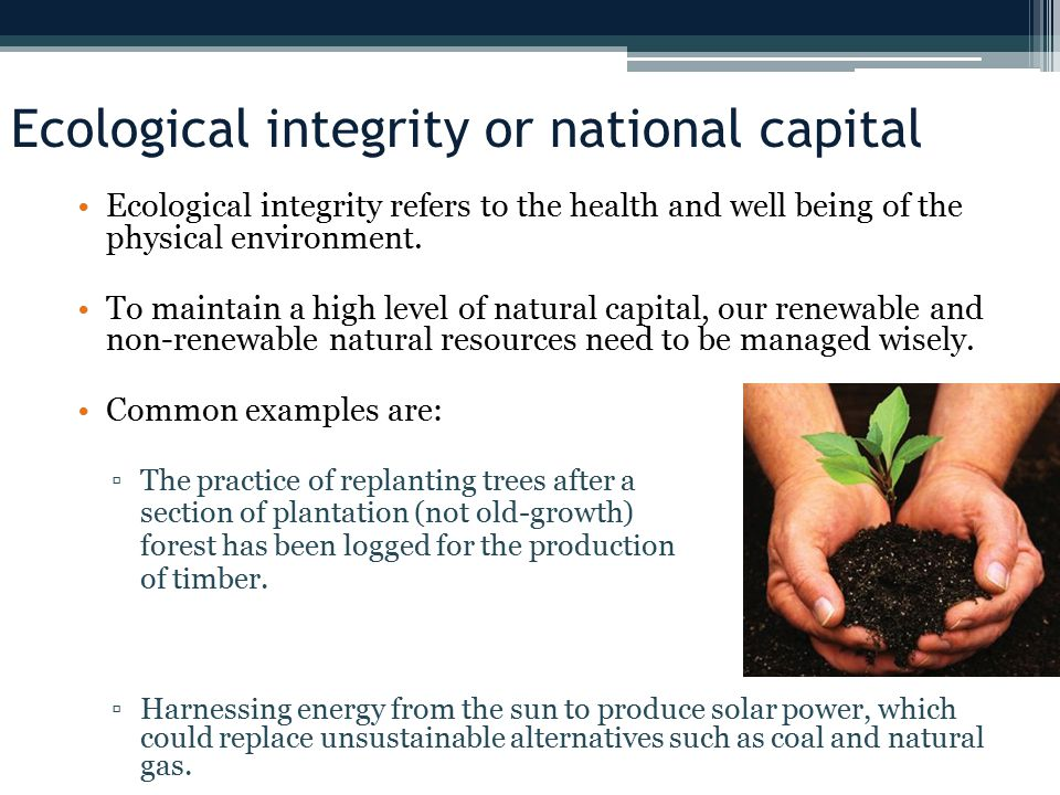 Ecological integrity or national capital
