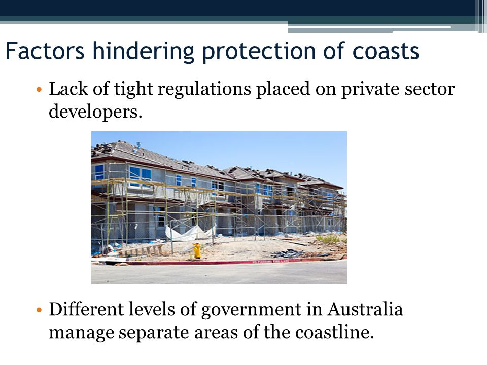 Factors hindering protection of coasts