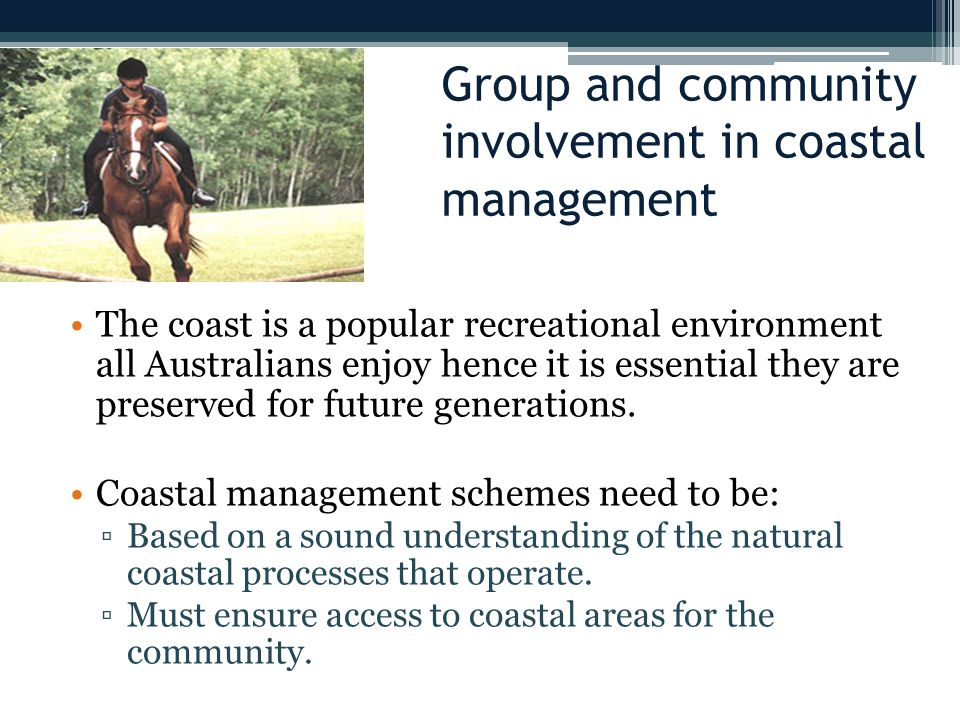 Group and community involvement in coastal management