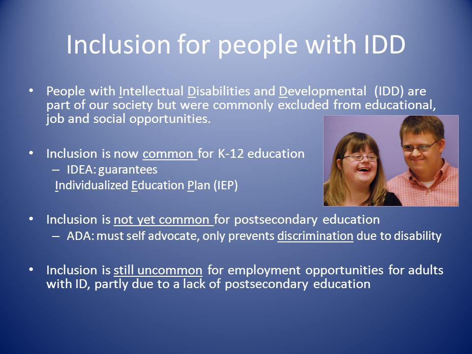 Inclusion for people with IDD