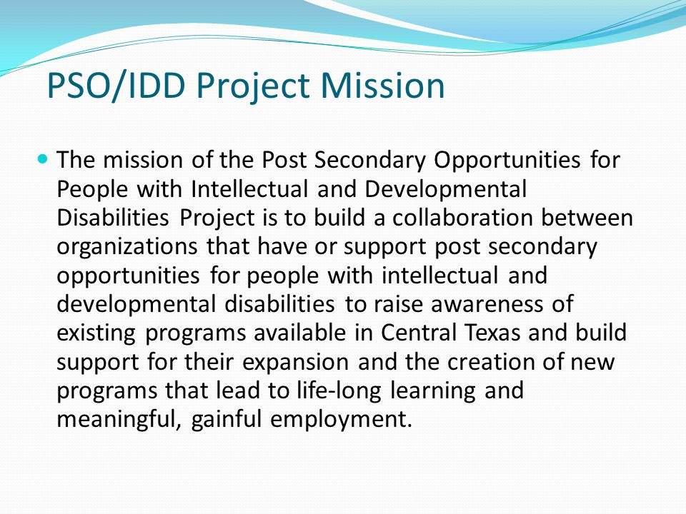 PSO/IDD Project Mission