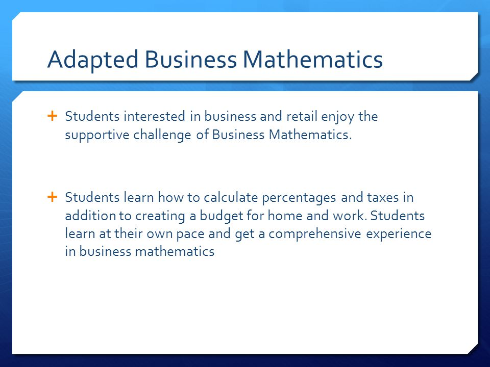 Adapted Business Mathematics