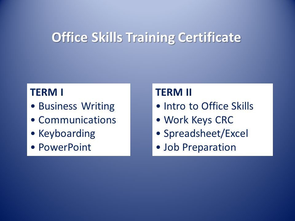 Office Skills Training Certificate