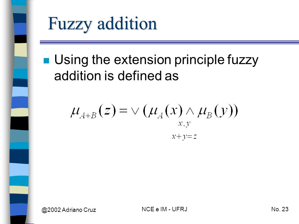 Fuzzy addition Using the extension principle fuzzy addition is defined as.