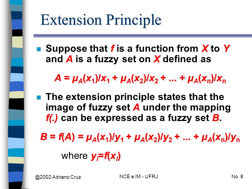 Extension Principle Suppose that f is a function from X to Y and A is a fuzzy set on X defined as. A = µA(x1)/x1 + µA(x2)/x2 + ... + µA(xn)/xn.