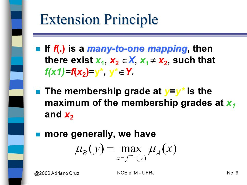 Extension Principle If f(.) is a many-to-one mapping, then there exist x1, x2 X, x1  x2, such that f(x1)=f(x2)=y*, y*Y.
