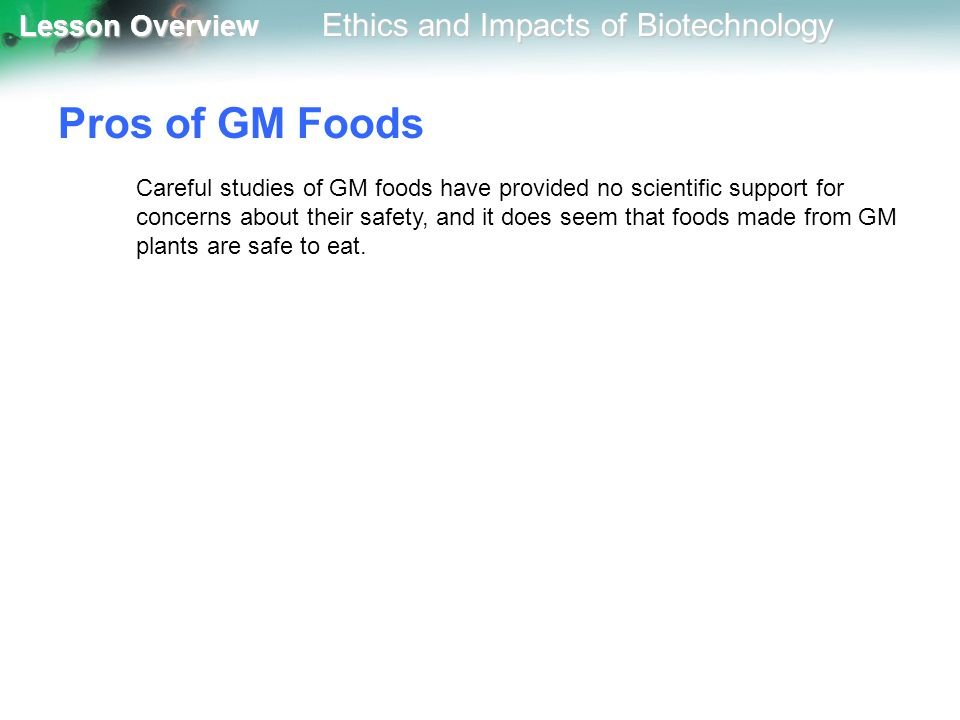 Pros of GM Foods