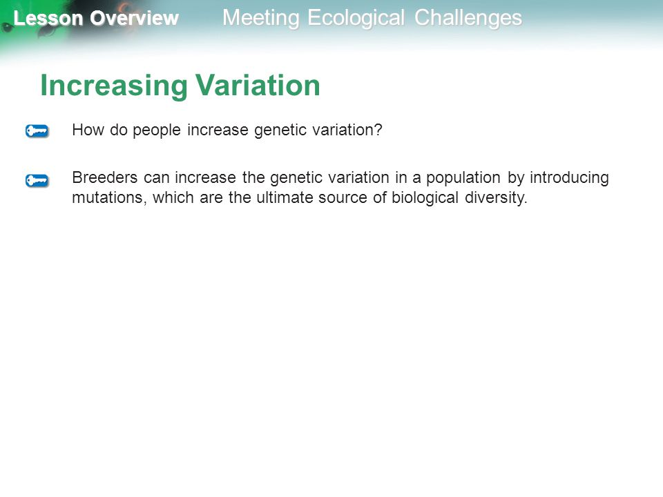 Increasing Variation How do people increase genetic variation