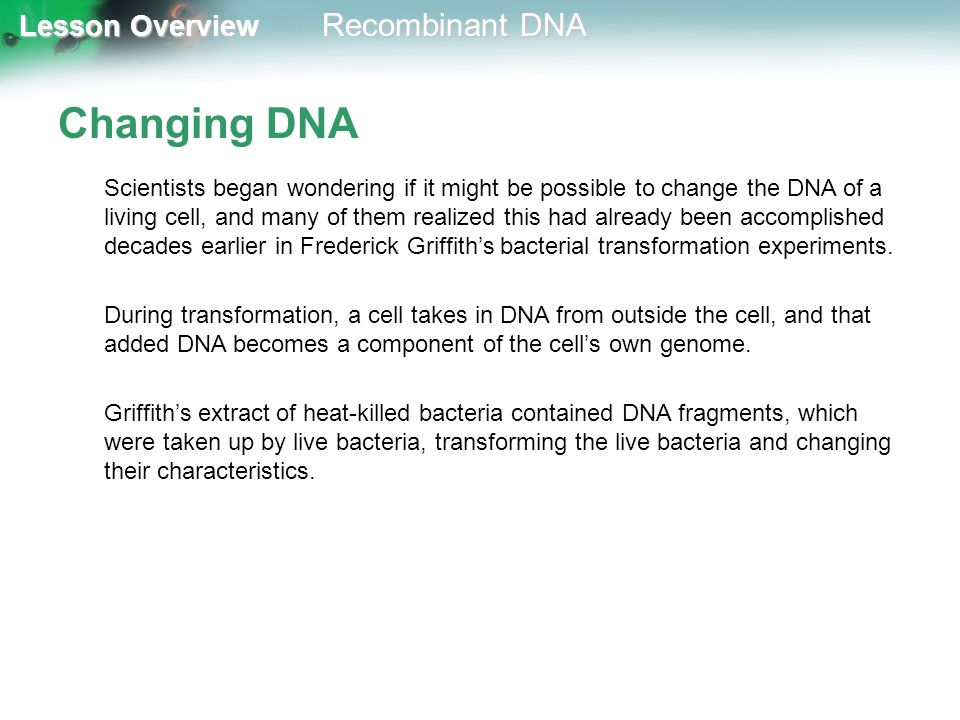 Changing DNA