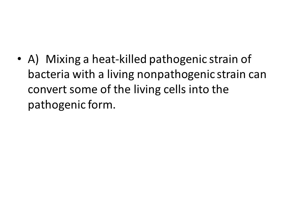 A) Mixing a heat-killed pathogenic strain of bacteria with a living nonpathogenic strain can convert some of the living cells into the pathogenic form.