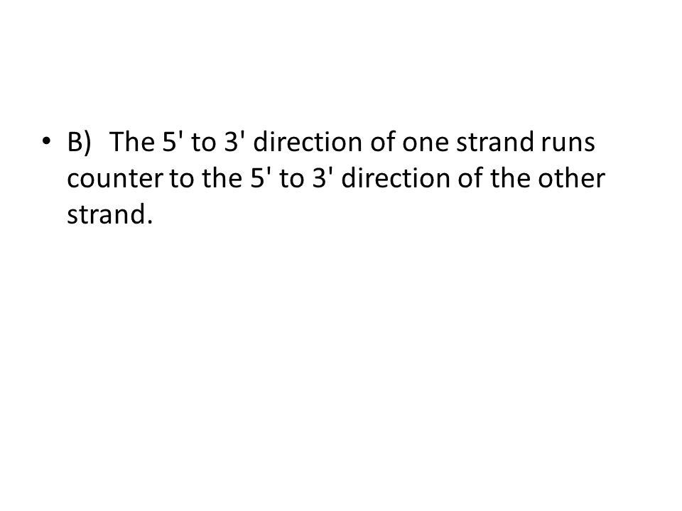 B) The 5 to 3 direction of one strand runs counter to the 5 to 3 direction of the other strand.