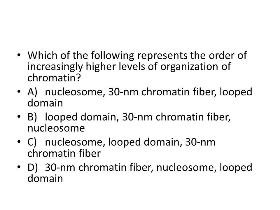 Which of the following represents the order of increasingly higher levels of organization of chromatin