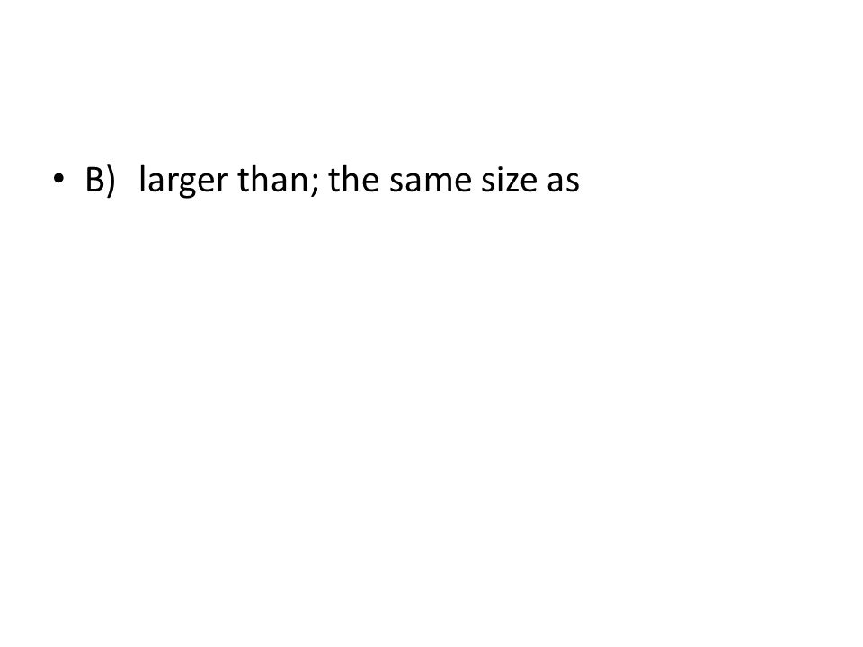 B) larger than; the same size as