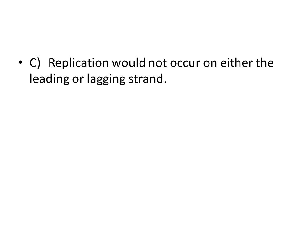 C) Replication would not occur on either the leading or lagging strand.