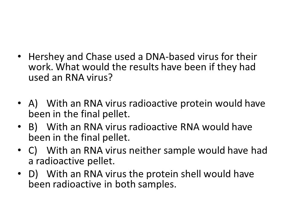 Hershey and Chase used a DNA-based virus for their work