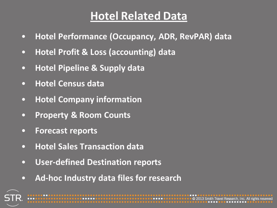 Hotel Related Data Hotel Performance (Occupancy, ADR, RevPAR) data