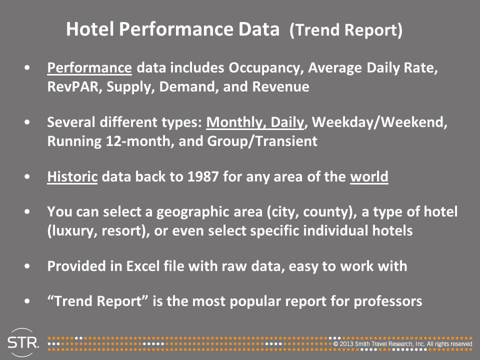 Hotel Performance Data (Trend Report)