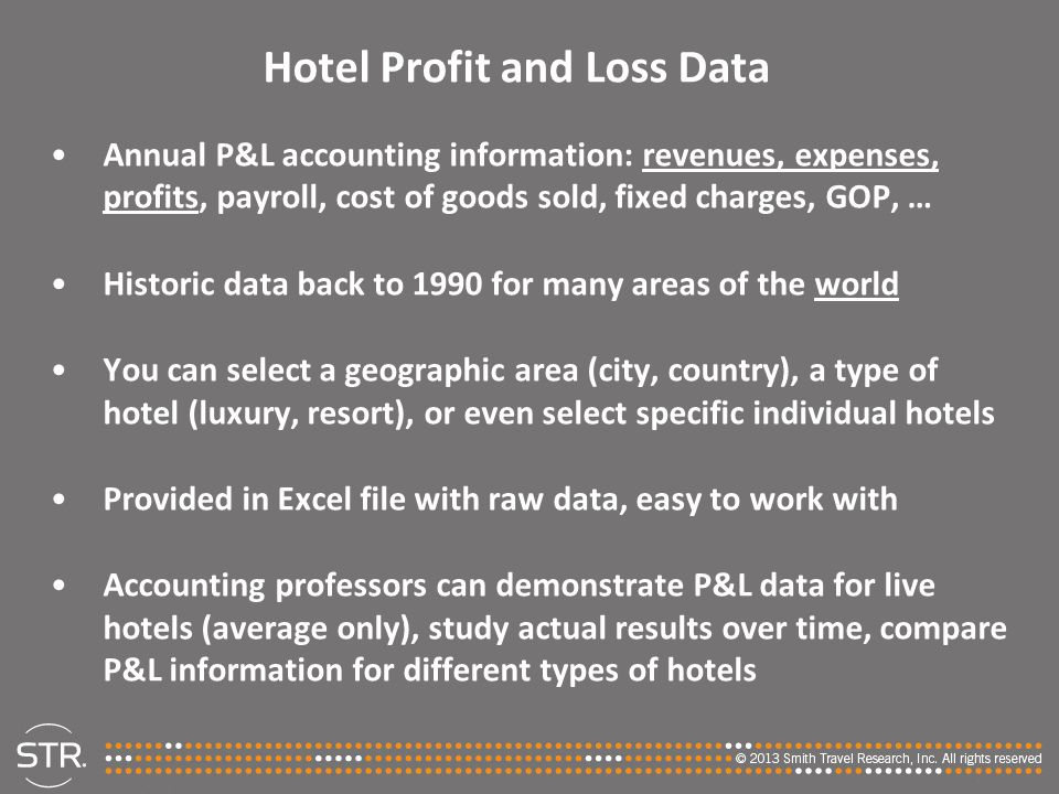 Hotel Profit and Loss Data