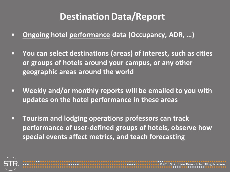 Destination Data/Report