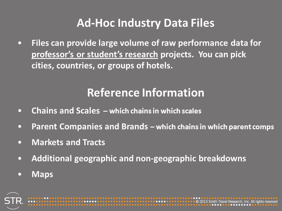 Ad-Hoc Industry Data Files Reference Information