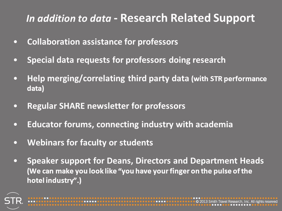In addition to data - Research Related Support