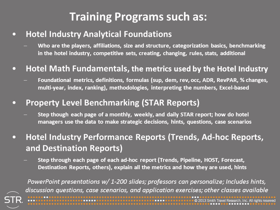 Training Programs such as: