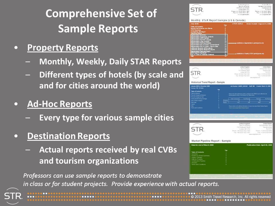 Comprehensive Set of Sample Reports