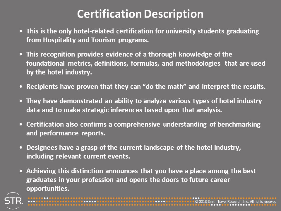 Certification Description