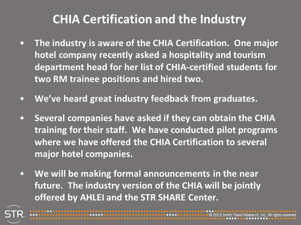 CHIA Certification and the Industry