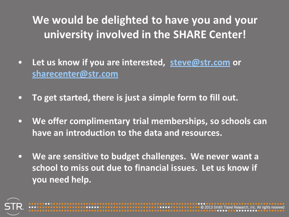 We would be delighted to have you and your university involved in the SHARE Center!