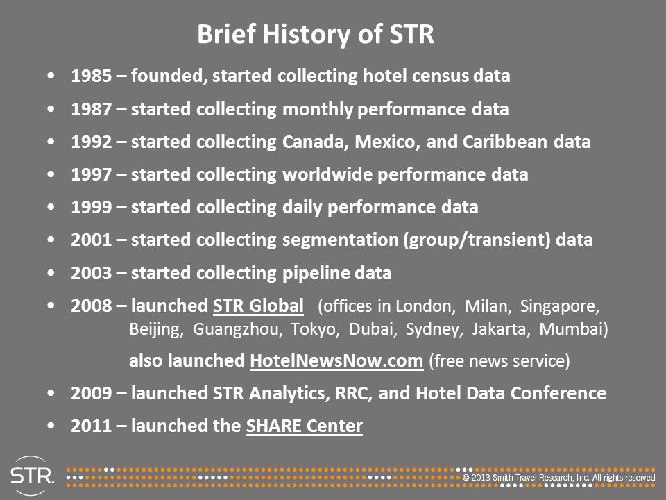 Brief History of STR 1985 – founded, started collecting hotel census data. 1987 – started collecting monthly performance data.